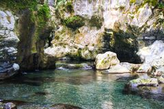Morigerati Oasis. The gorges of river Bussento, in the nature reserve of Morigerati, in Cilento National Park, Salerno province, Campania, Italy Stock Images