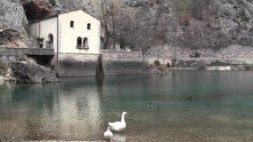 Gorges of Sagittarius, Scanno Abruzzo. Small lake in the valley of Sagittarius, Scanno Abruzzo Italy stock footage