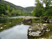 The gorges of the Tarn. Large rocks in the gorges of the Tarn in Aveyron in France Stock Images