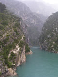 Gorges of Verdon 3. The vertiginous gorges of Verdon and its jade river, Provence, France  under the rain Royalty Free Stock Photography