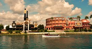 Gorgeus Chocolate Emporium and Hard Rock Cafe at Universal Orlando Resort in Florida with the lake on th royalty free stock images