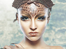 Gorgon girl in dungeon Stock Photography