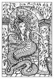 Gorgon medusa. Engraved fantasy illustration. Woman with snake body and hair. Fantasy magic creatures collection. Hand drawn vector illustration. Engraved line Royalty Free Stock Images