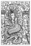 Gorgon Medusa Ilustração gravada da fantasia Imagens de Stock Royalty Free