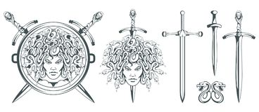 Gorgon Medusa - monster with a female face and snakes instead of hair. Sword. Medusa head. Greek mythology. Hand drawn traditional vector illustration