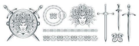 Gorgon Medusa - monster with a female face and snakes instead of hair. Sword. Medusa head. Greek mythology. Hand drawn traditional. Greek ornament. Snake tattoo royalty free illustration