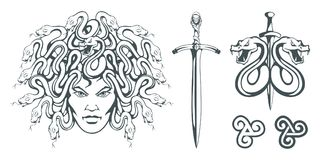 Gorgon Medusa - monster with a female face and snakes instead of hair. Sword. Medusa head. Greek mythology. vector illustration