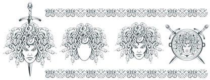 Gorgon Medusa - monster med en kvinnlig framsida och ormar i stället för hår svärd Medusahuvud grekisk mythology Hand dragit trad vektor illustrationer