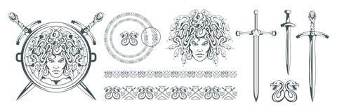Gorgona meduza potwór z żeńską twarzą i węże zamiast włosy - kordzik Meduzy głowa grecka mitologia Ręka rysujący tradycyjny royalty ilustracja