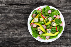Gorgonzola, avocado, spinach, red radish salad. Gorgonzola,avocado, spinach, european radish low carb delicious salad on white platter on old dark wooden table Royalty Free Stock Image