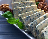 Gorgonzola with basil Stock Image