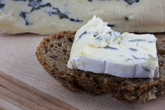 Gorgonzola cheese on whole grain wheat bread Stock Photo
