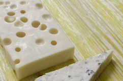 Gorgonzola and gruyere cheese. Stock Images