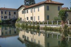Gorgonzola Mediolan: kanał Martesana Obrazy Stock