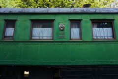 Gori Stalin Stary Zielony furgon fotografia royalty free
