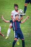 Gorica vs Rudes. Velika Gorica, Croatia - 25th, August 2018 : The first football Croatian league Hrvatski Telekom, football game between Hnk Gorica and Rudes on stock photography