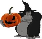 Gorila com uma abóbora Imagens de Stock Royalty Free
