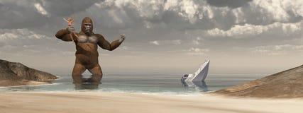 Gorila enorme, mulher em sua mão e barco afundado ilustração do vetor