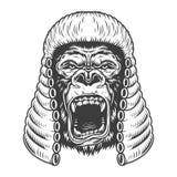 Gorila irritado no estilo monocromático ilustração royalty free