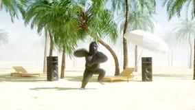 Gorilas divertidos y monos que bailan en la playa soleada Concepto del turismo y del resto Animación realista 4K libre illustration