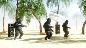 Gorilas divertidos y monos que bailan en la playa soleada Concepto del turismo y del resto Animación realista 4K stock de ilustración