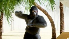 Gorilas divertidos y monos que bailan en la playa soleada Concepto del turismo y del resto Animación realista 4K ilustración del vector
