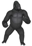 Gorilla. 3D rendered African gorilla on white background isolated Royalty Free Stock Photo