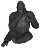 Gorilla. 3D rendered African gorilla on white background isolated Royalty Free Stock Photography
