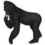 Gorilla. 3D rendered African gorilla on white background isolated Stock Image