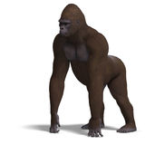 Gorilla on all fours. 3D rendering with clipping Royalty Free Stock Photos