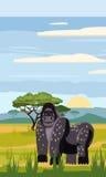 Gorilla on the background of the African landscape, savanna. Cartoon style,  illustration Royalty Free Stock Photos