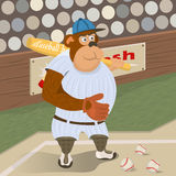 Gorilla baseball player. Vector illustration of gorilla baseball player on a stadium royalty free illustration