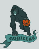 Gorilla basketball club emblem Royalty Free Stock Image