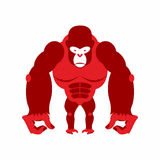 Gorilla big and scary. Strong red Angry monkey. Vector illustration animal on a white background. stock illustration