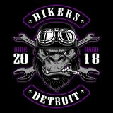 Gorilla Biker with crossed wrenches. Design of patch with motorcycle rider. Graphic for shirt . Color version. All elements, text , colors are on the separate stock illustration
