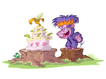 Gorilla with birthday cake Royalty Free Stock Images