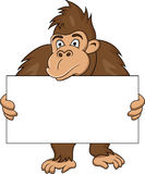 Gorilla with blank sign Stock Images