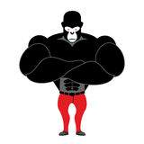 Gorilla bodybuilder. Strong black monkey with big muscles. Athle Royalty Free Stock Image