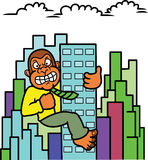 Gorilla Businessman Climbing Building Cartoon Photo stock