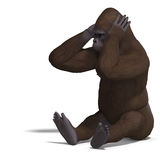 Gorilla can't hear Royalty Free Stock Image