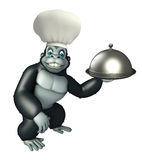 Gorilla cartoon character  with chef hat Royalty Free Stock Photography