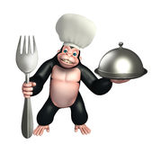 Gorilla cartoon character  with chef hat, spoon and cloche Stock Images