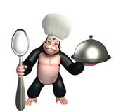 Gorilla cartoon character  with chef hat, spoon and cloche Royalty Free Stock Photography