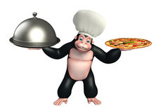Gorilla cartoon character  with chef hat, spoon and cloche Stock Photography