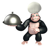 Gorilla cartoon character  with chef hat, spoon and cloche Stock Image