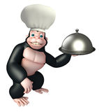 Gorilla cartoon character  with chef hat, spoon and cloche Stock Photo