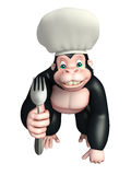 Gorilla cartoon character with chef hat and spoon Royalty Free Stock Photos
