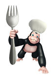 Gorilla cartoon character with chef hat and spoon Royalty Free Stock Images