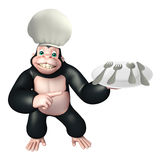 Gorilla cartoon character with chef hat and spoon Royalty Free Stock Photography