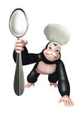 Gorilla cartoon character with chef hat and spoon Stock Photography